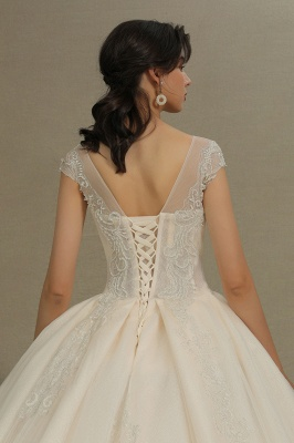 A Line Cap Sleeve Tulle Lace Wedding Dress Appliques Cathedral Garden Bridal Gowns_8
