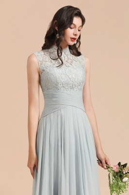 Floor Length Chiffon High Neck Lace Bridesmaid Dresses_8