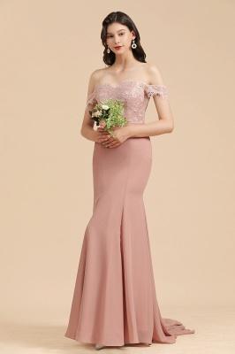 Off Shoulder Floral Lace Appliques Mermaid Bridesmaid Dress_5