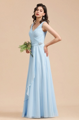 Sky Blue V-Neck Sleevels Ruffle Chiffon Bridesmaid Dress_5