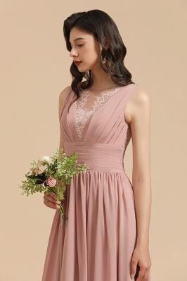 Elegant Sleevele Dusty Pink Chiffon Bridesmaid Dresses_9