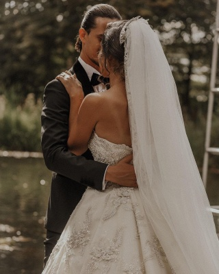 Luxury sweetheart wedding dress A line Wedding dresses lace_5