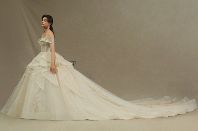 Gorgeous Off-the-Shoulder Ivory Wedding Dresses Floral Appliques Ball Gown Bridal Dress_4