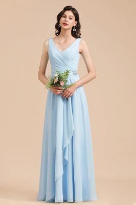 Sky Blue V-Neck Sleevels Ruffle Chiffon Bridesmaid Dress_4