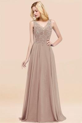 Straps V Neck  Applique Crystal Sequin Floor Length A Line Prom Dresses_16