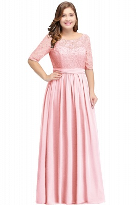 Cheap Half-Sleeve Lace Long Chiffon Evening Dress in Stock_2