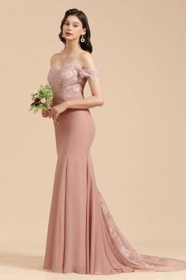 Off Shoulder Floral Lace Appliques Mermaid Bridesmaid Dress_7