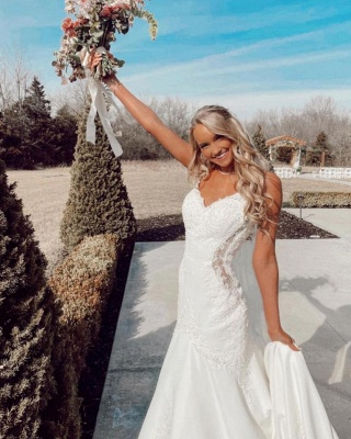 Beautiful mermaid wedding dresses v neck Wedding gown with lace_3