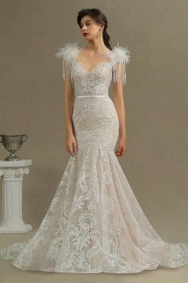 Fur Leather Lace Off Shoulder V-Neck Mermaid Wedding Gowns_3