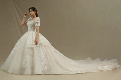 Charming Short Sleeve Sweetheart Wedding Dresses Garden Bridal Gowns Sweep Train_3