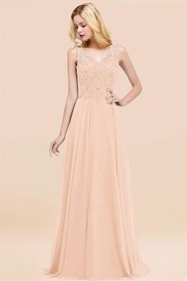 Straps V Neck  Applique Crystal Sequin Floor Length A Line Prom Dresses_5