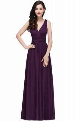 V-Neck Burgundy Ruched  A-line Evening Dresses_4