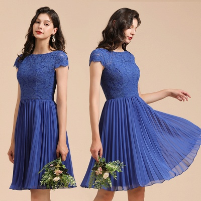 Royal Blue Short Sleeves Knee Length Mini Bridesmaid Dresses_10