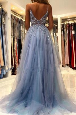 Elegant Spaghetti Straps Royal Blue Prom Dress With Lace Appliques_2