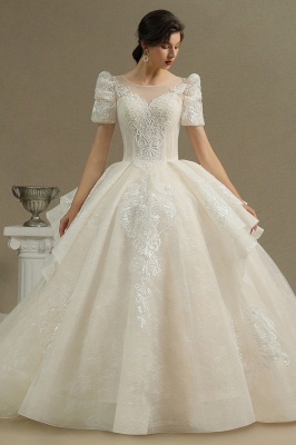 Charming Short Sleeve Sweetheart Wedding Dresses Garden Bridal Gowns Sweep Train_2