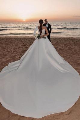 Sexy One Shoulder Ruffle Satin Seqiuns Mermaid Bridal Dresses_2