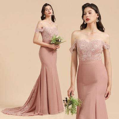 Off Shoulder Floral Lace Appliques Mermaid Bridesmaid Dress_10