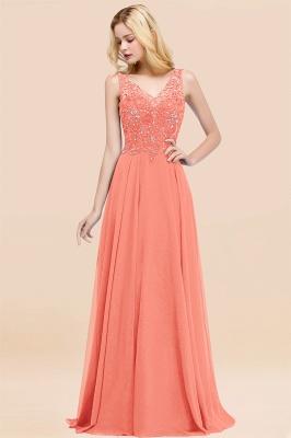 Straps V Neck  Applique Crystal Sequin Floor Length A Line Prom Dresses_45