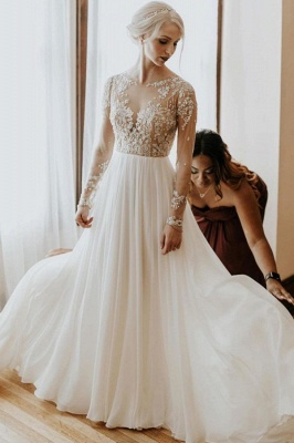 Simple Lace Tulle A Line wedding dress with sleeves_1