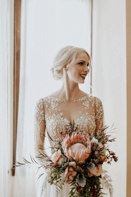 Simple Lace Tulle A Line wedding dress with sleeves_3