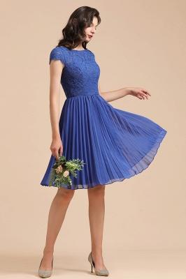 Royal Blue Short Sleeves Knee Length Mini Bridesmaid Dresses_7