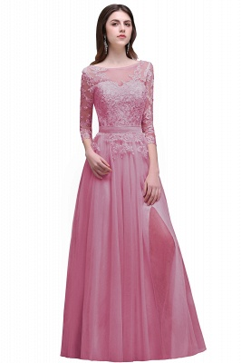 Cheap Lace Appliques Split Long Tulle Prom Dress in Stock_1