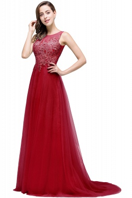 Cheap A-line Court Train Tulle Evening Dress with Appliques in Stock_4