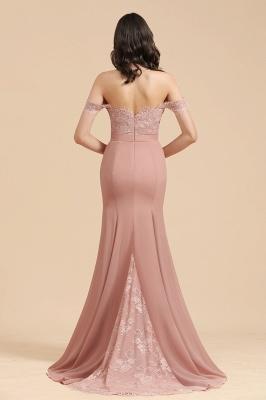 Off Shoulder Floral Lace Appliques Mermaid Bridesmaid Dress_3