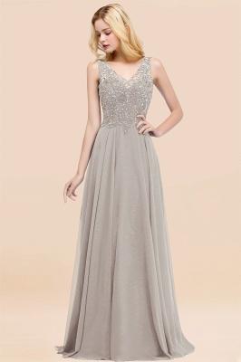 Straps V Neck  Applique Crystal Sequin Floor Length A Line Prom Dresses_30