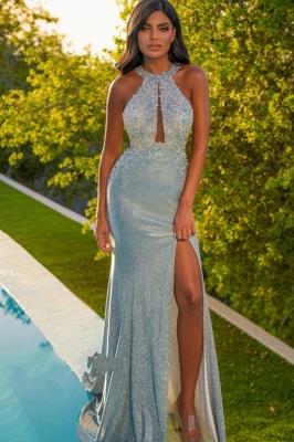 Halter Mint green prom dresses with glitter Evening dresses long cheap_1