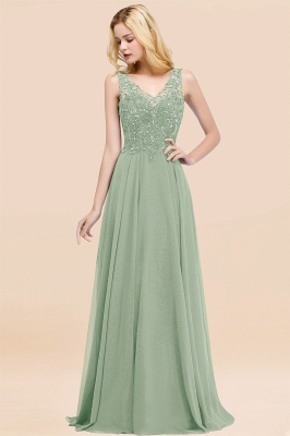 Straps V Neck  Applique Crystal Sequin Floor Length A Line Prom Dresses_41