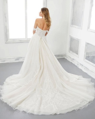 Modern off the shoulder lace wedding dress A line Cheap online_2