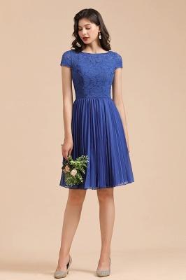 Royal Blue Short Sleeves Knee Length Mini Bridesmaid Dresses_4