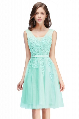 Cheap A-line Knee-length Tulle Prom Dress with Appliques in Stock_9
