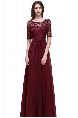 Cheap Half-Sleeve Lace Long Chiffon Evening Dress in Stock_4