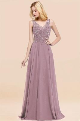 Straps V Neck  Applique Crystal Sequin Floor Length A Line Prom Dresses_43