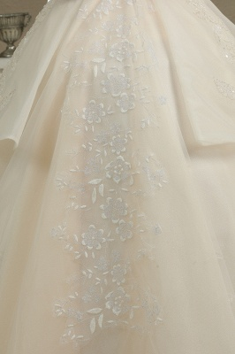 Elegant Off-the-Shoulder Tulle Lace Bridal Gown Ball Gown Floor Length Wedding Dress_3
