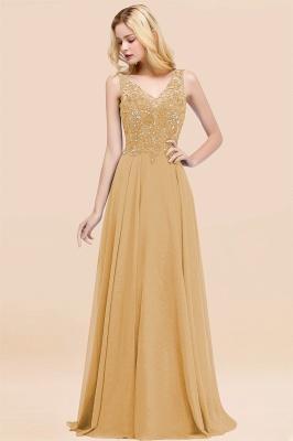 Straps V Neck  Applique Crystal Sequin Floor Length A Line Prom Dresses_13