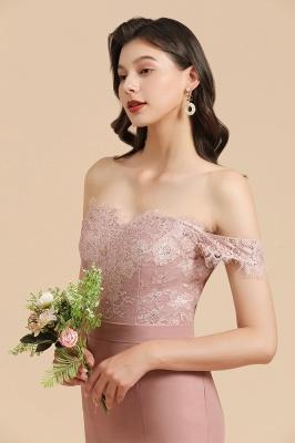 Off Shoulder Floral Lace Appliques Mermaid Bridesmaid Dress_8