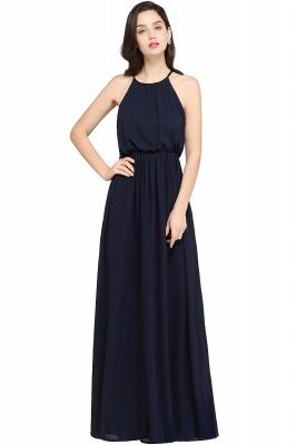 Dark Navy Halter Chiffon Sleeveless Bridesmaid Dresses | Wedding Guest Dresses_6