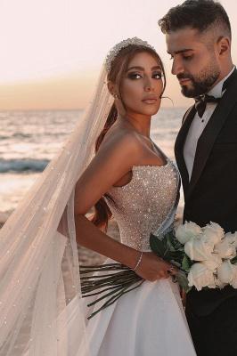 Sexy One Shoulder Ruffle Satin Seqiuns Mermaid Bridal Dresses_10