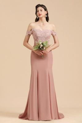 Off Shoulder Floral Lace Appliques Mermaid Bridesmaid Dress_6