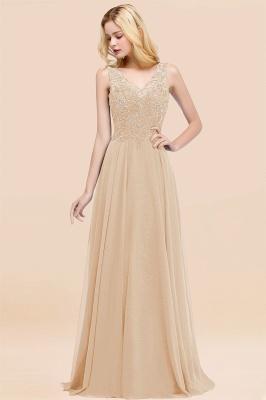 Straps V Neck  Applique Crystal Sequin Floor Length A Line Prom Dresses_14