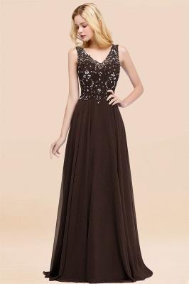 Straps V Neck  Applique Crystal Sequin Floor Length A Line Prom Dresses_11