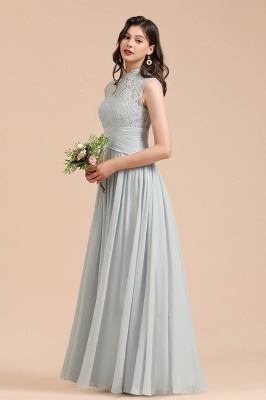Floor Length Chiffon High Neck Lace Bridesmaid Dresses_7