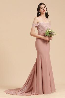 Off Shoulder Floral Lace Appliques Mermaid Bridesmaid Dress_4