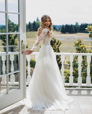 Wonderful A line Chiffon wedding dresses with sleeves_3