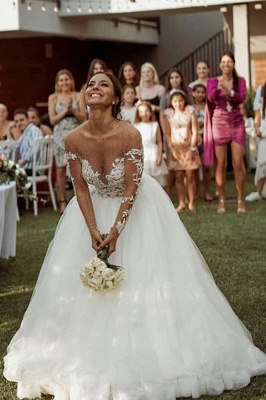A Line Long Sleeve Lace Tulle Casual Wedding Dresses_3