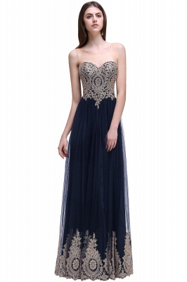 Black Tulle Long A-line Prom Dress with Appliques In Stock_3