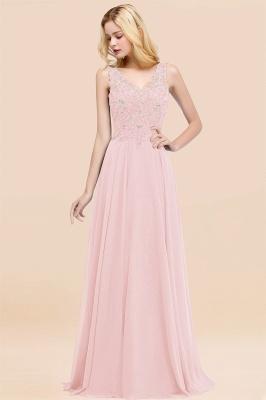 Straps V Neck  Applique Crystal Sequin Floor Length A Line Prom Dresses_3